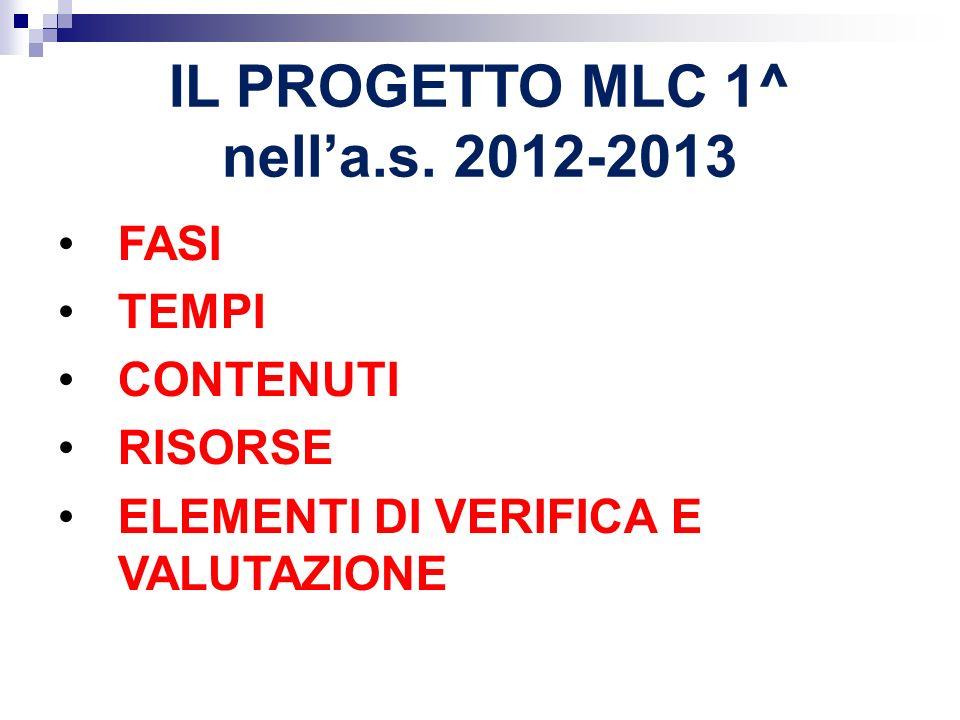 IL PROGETTO MLC 1^ nell'a.s. 2012-2013