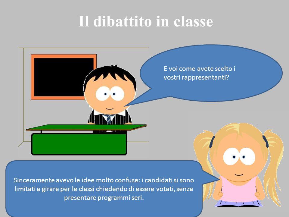 Il dibattito in classe E voi come avete scelto i vostri rappresentanti
