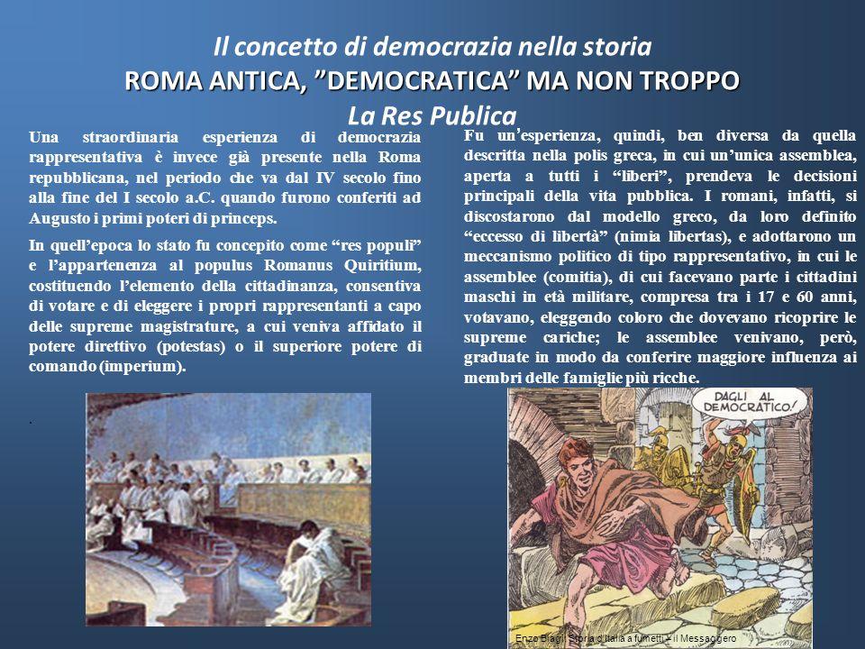 Il concetto di democrazia nella storia ROMA ANTICA, DEMOCRATICA MA NON TROPPO La Res Publica