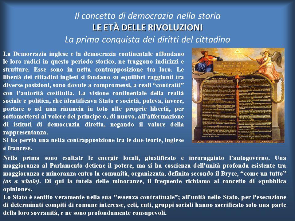 Il concetto di democrazia nella storia LE ETÀ DELLE RIVOLUZIONI La prima conquista dei diritti del cittadino