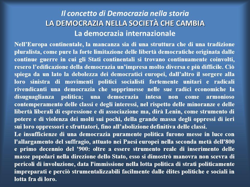 Il concetto di Democrazia nella storia LA DEMOCRAZIA NELLA SOCIETÀ CHE CAMBIA La democrazia internazionale