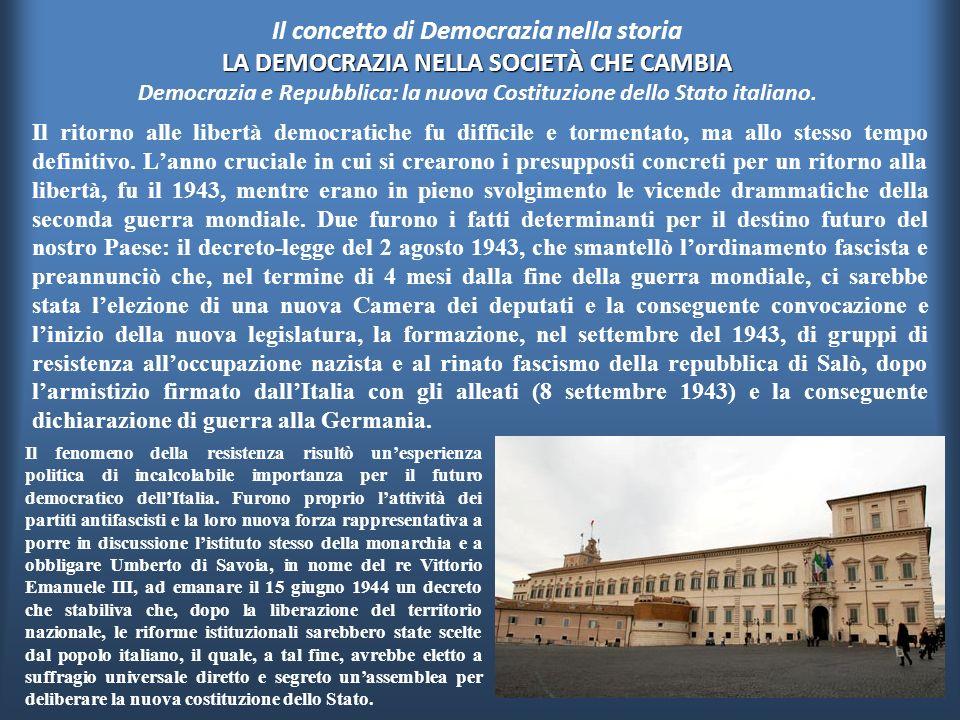 Il concetto di Democrazia nella storia LA DEMOCRAZIA NELLA SOCIETÀ CHE CAMBIA Democrazia e Repubblica: la nuova Costituzione dello Stato italiano.