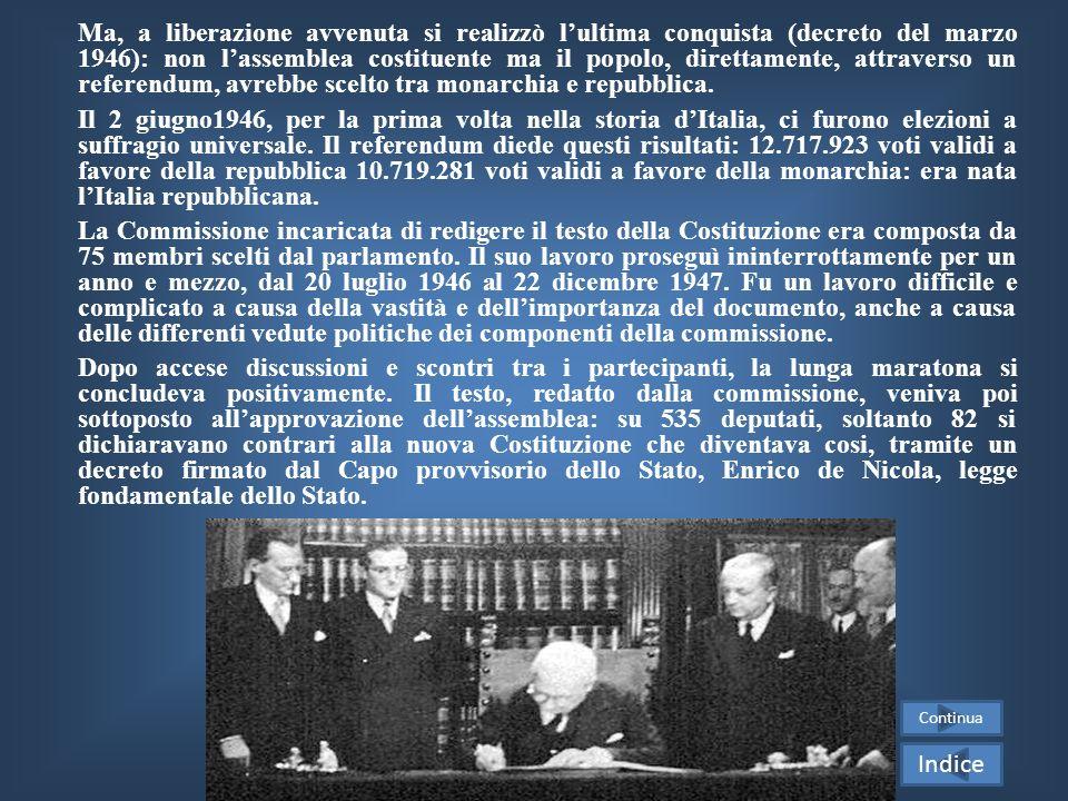 Ma, a liberazione avvenuta si realizzò l'ultima conquista (decreto del marzo 1946): non l'assemblea costituente ma il popolo, direttamente, attraverso un referendum, avrebbe scelto tra monarchia e repubblica.