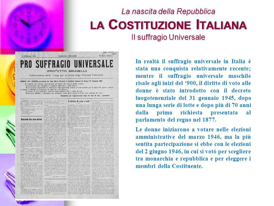 La nascita della Repubblica la Costituzione Italiana Il suffragio Universale