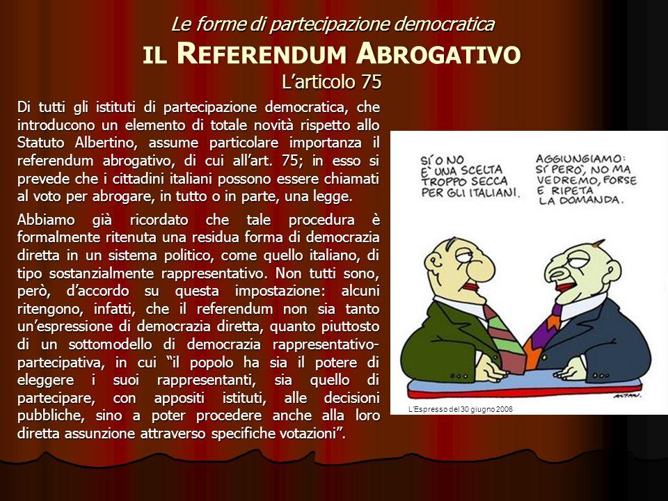 Le forme di partecipazione democratica il Referendum Abrogativo L'articolo 75