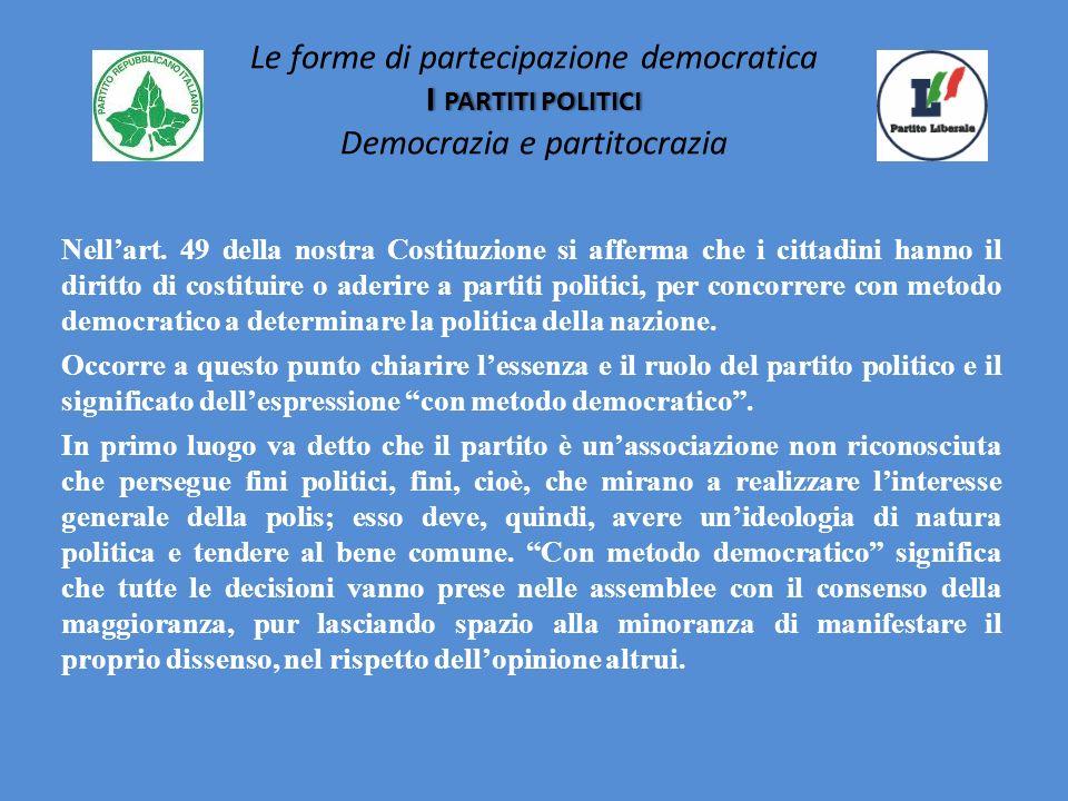 Le forme di partecipazione democratica I partiti politici Democrazia e partitocrazia