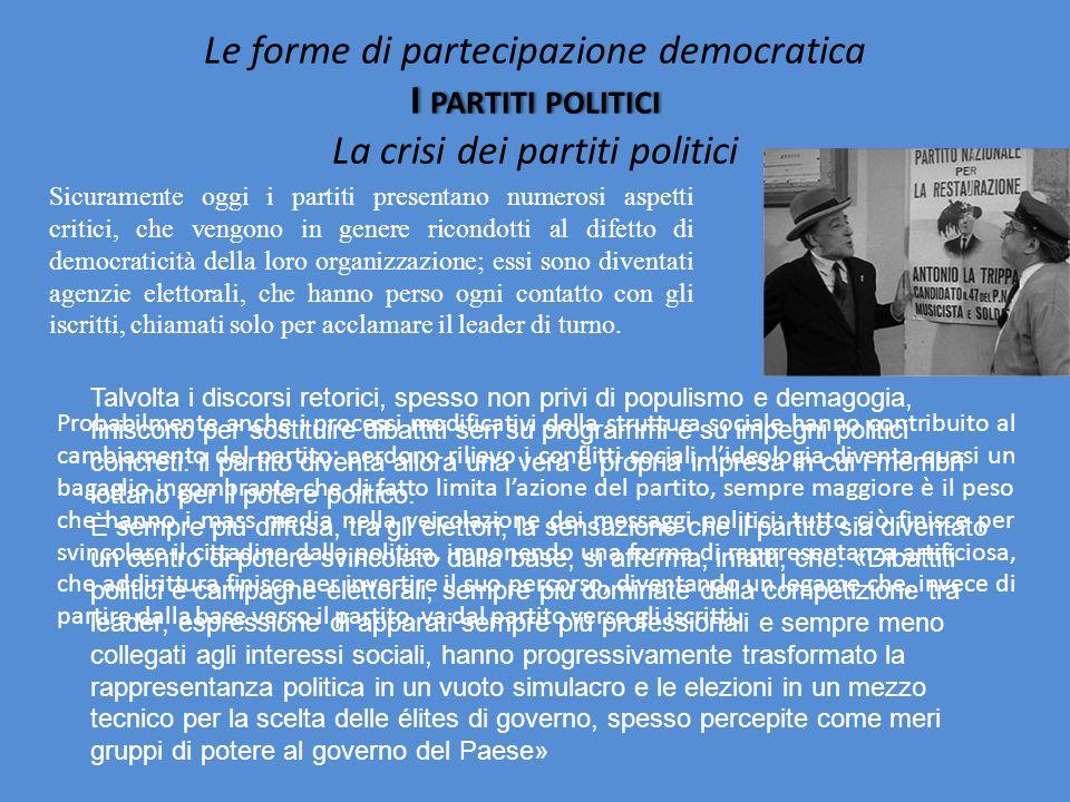 Le forme di partecipazione democratica I partiti politici La crisi dei partiti politici