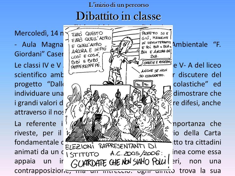 L'inizio di un percorso Dibattito in classe Dialogo del docente con gli alunni