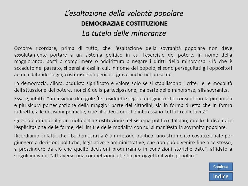 L'esaltazione della volontà popolare democrazia e costituzione La tutela delle minoranze