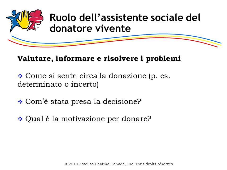 Ruolo dell'assistente sociale del donatore vivente