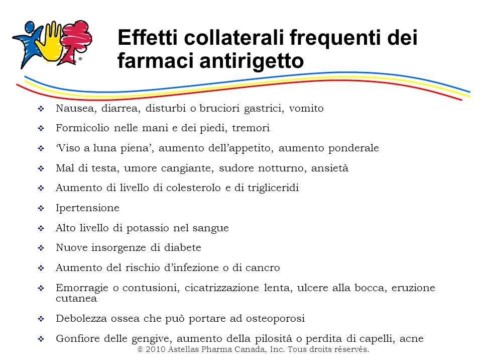 Effetti collaterali frequenti dei farmaci antirigetto