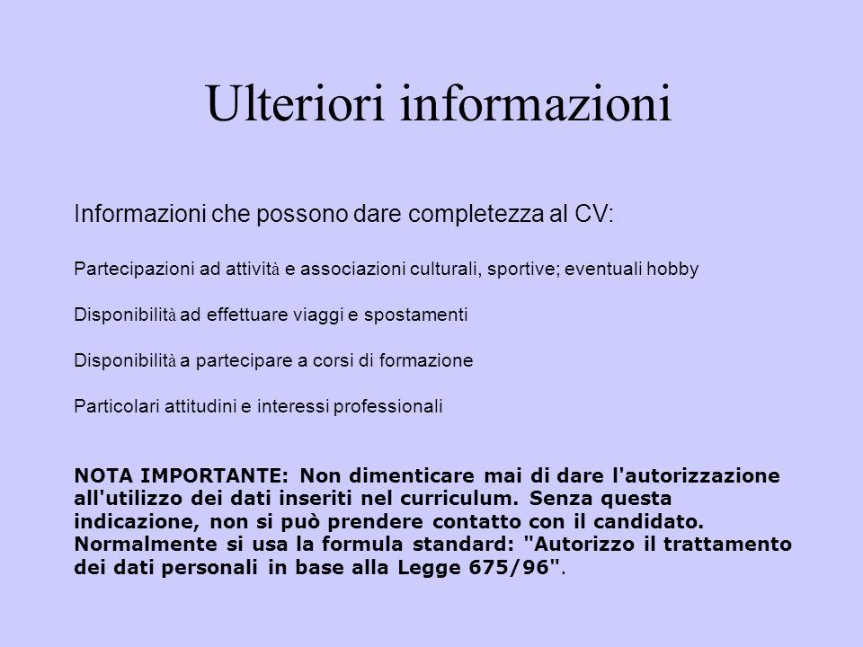 Ulteriori informazioni