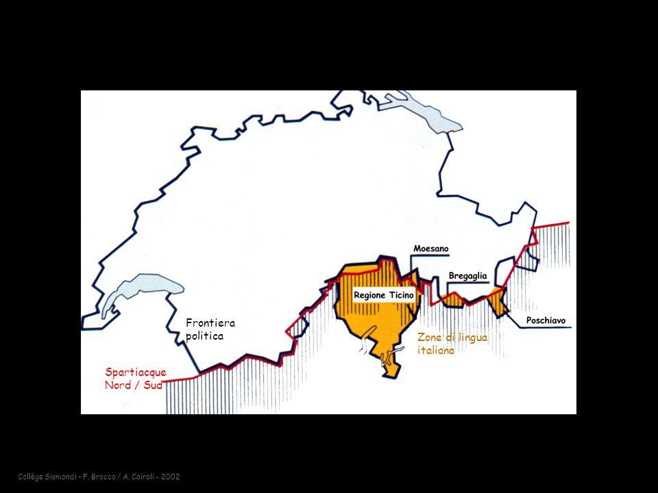 Spartiacque Nord / Sud Frontiera politica Zone di lingua italiana