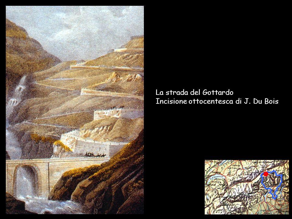 La strada del Gottardo Incisione ottocentesca di J. Du Bois