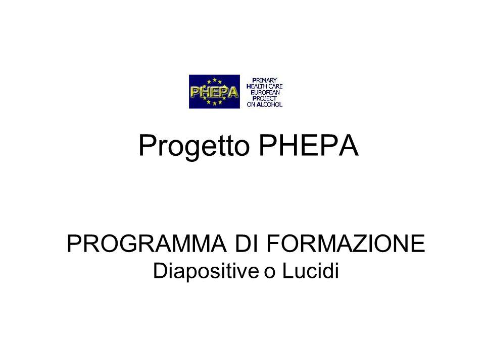 PROGRAMMA DI FORMAZIONE Diapositive o Lucidi