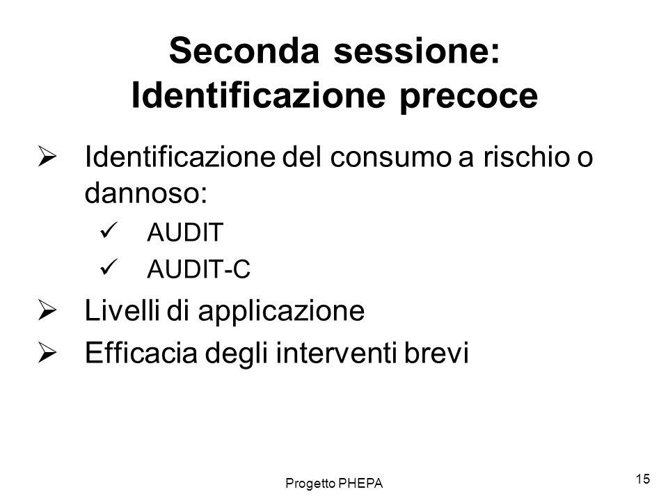 Seconda sessione: Identificazione precoce