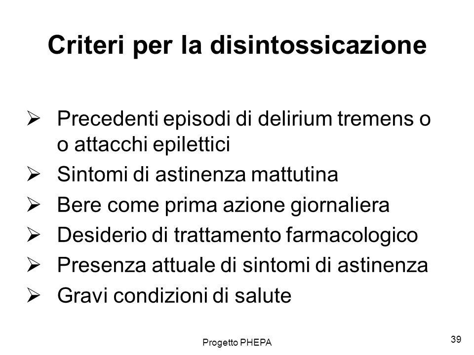 Criteri per la disintossicazione