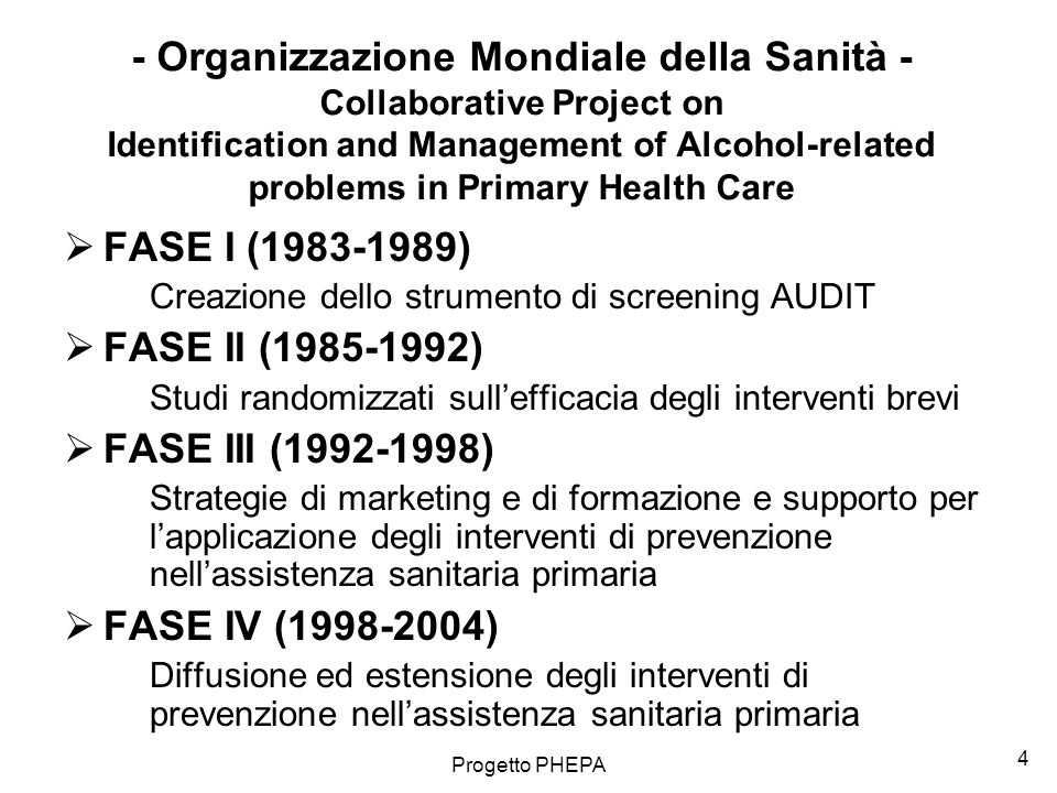 - Organizzazione Mondiale della Sanità - Collaborative Project on Identification and Management of Alcohol-related problems in Primary Health Care