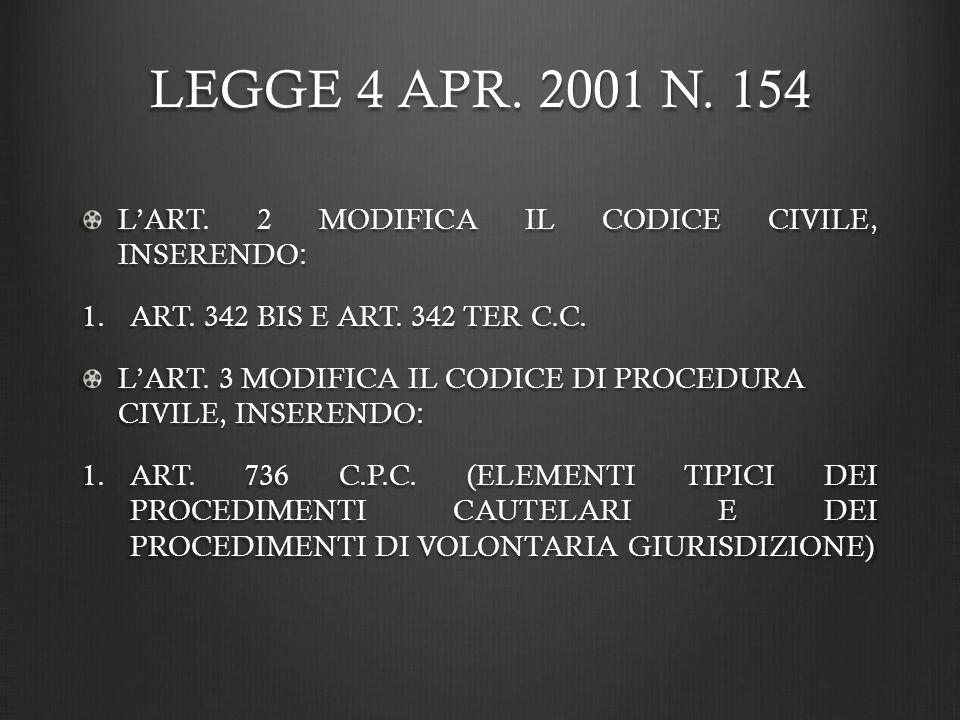 LEGGE 4 APR. 2001 N. 154 L'ART. 2 MODIFICA IL CODICE CIVILE, INSERENDO: ART. 342 BIS E ART. 342 TER C.C.