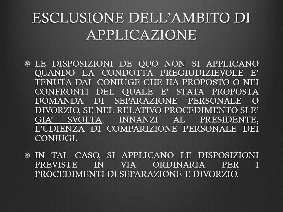 ESCLUSIONE DELL'AMBITO DI APPLICAZIONE