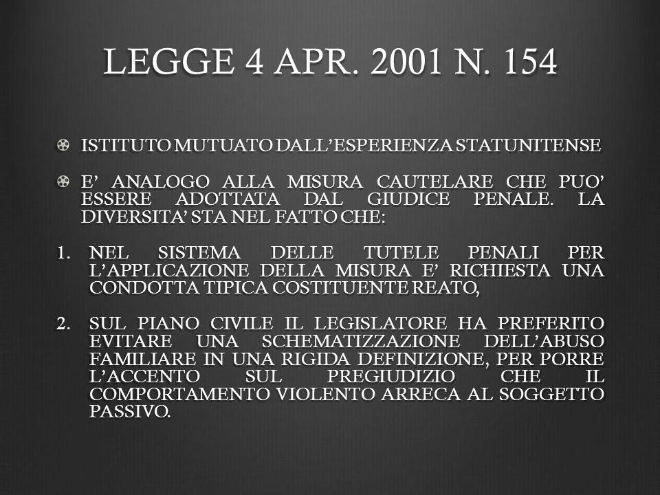 LEGGE 4 APR. 2001 N. 154 ISTITUTO MUTUATO DALL'ESPERIENZA STATUNITENSE