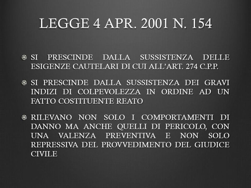 LEGGE 4 APR. 2001 N. 154 SI PRESCINDE DALLA SUSSISTENZA DELLE ESIGENZE CAUTELARI DI CUI ALL'ART. 274 C.P.P.