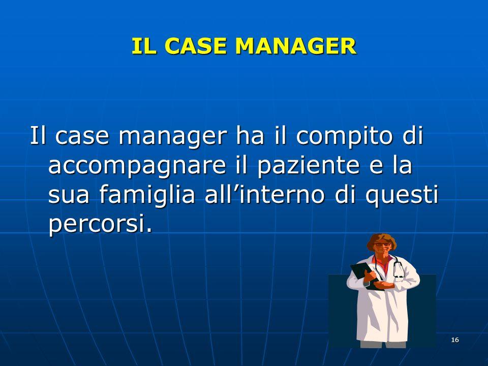 IL CASE MANAGER Il case manager ha il compito di accompagnare il paziente e la sua famiglia all'interno di questi percorsi.