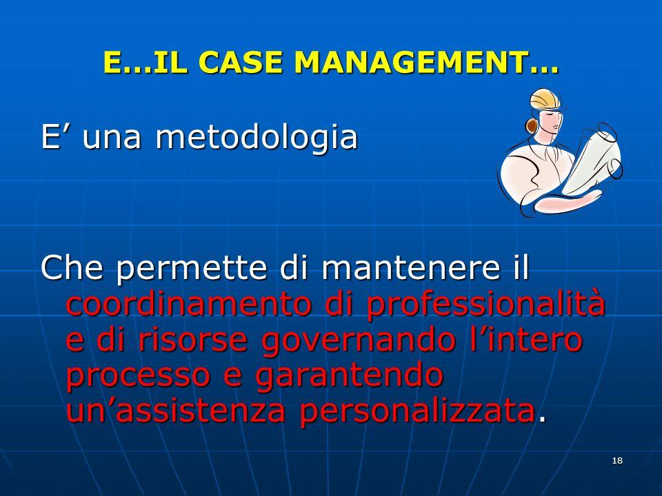 E…IL CASE MANAGEMENT… E' una metodologia.