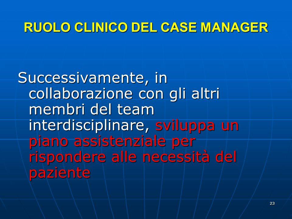 RUOLO CLINICO DEL CASE MANAGER