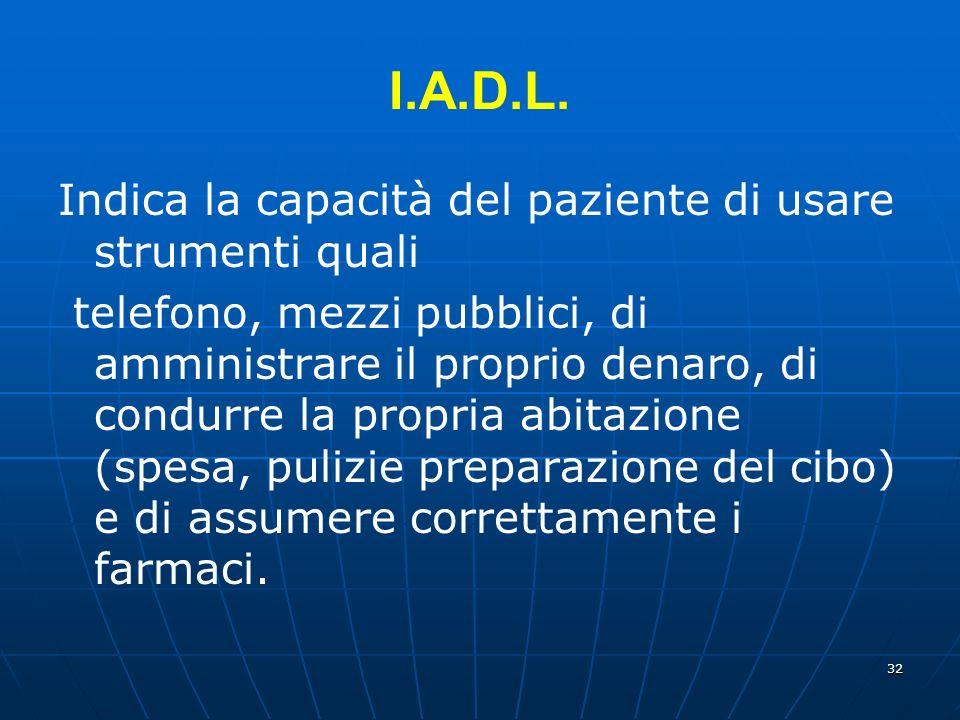 I.A.D.L. Indica la capacità del paziente di usare strumenti quali
