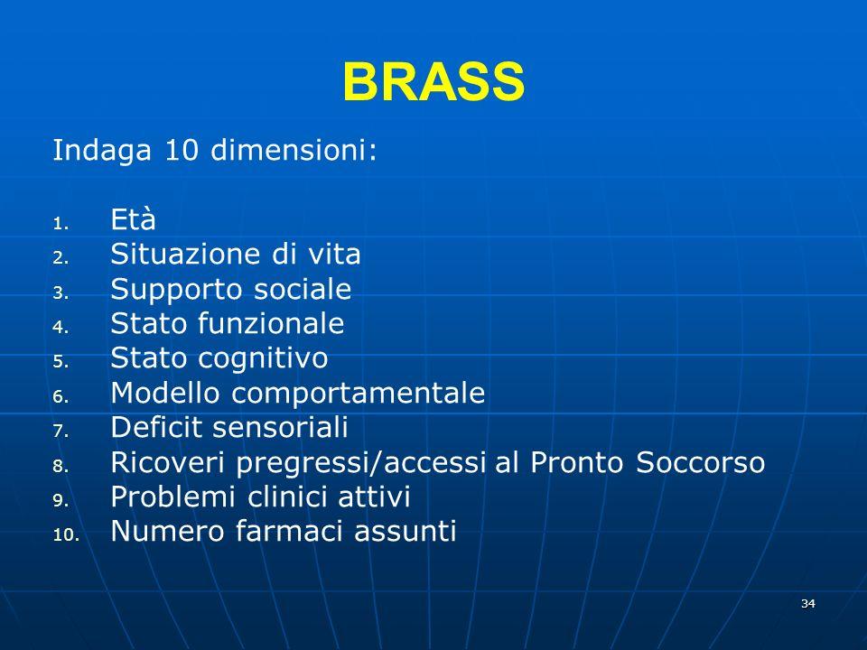 BRASS Indaga 10 dimensioni: Età Situazione di vita Supporto sociale