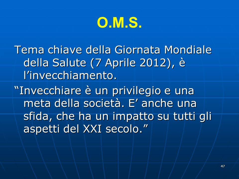 O.M.S. Tema chiave della Giornata Mondiale della Salute (7 Aprile 2012), è l'invecchiamento.
