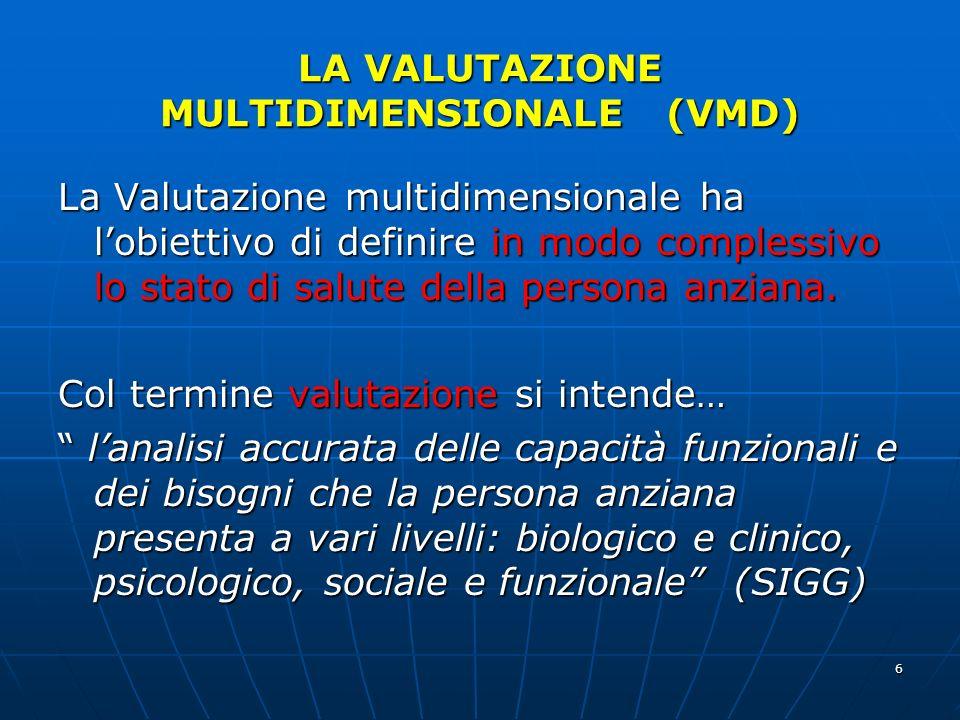 LA VALUTAZIONE MULTIDIMENSIONALE (VMD)