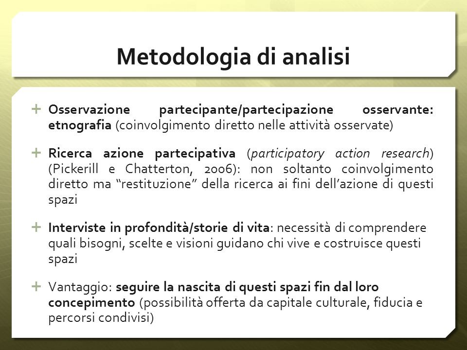 Metodologia di analisi