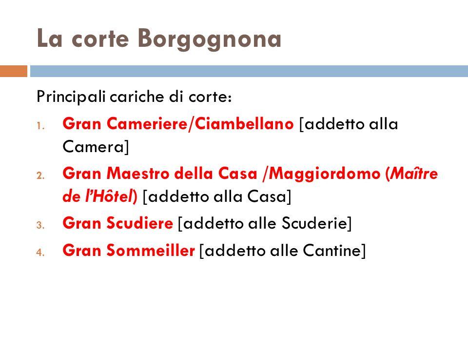 La corte Borgognona Principali cariche di corte: