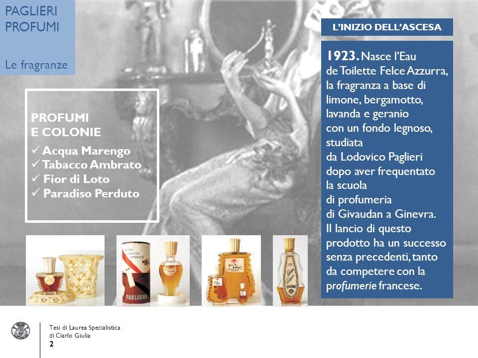 PAGLIERI PROFUMI 1923. Nasce l'Eau Le fragranze