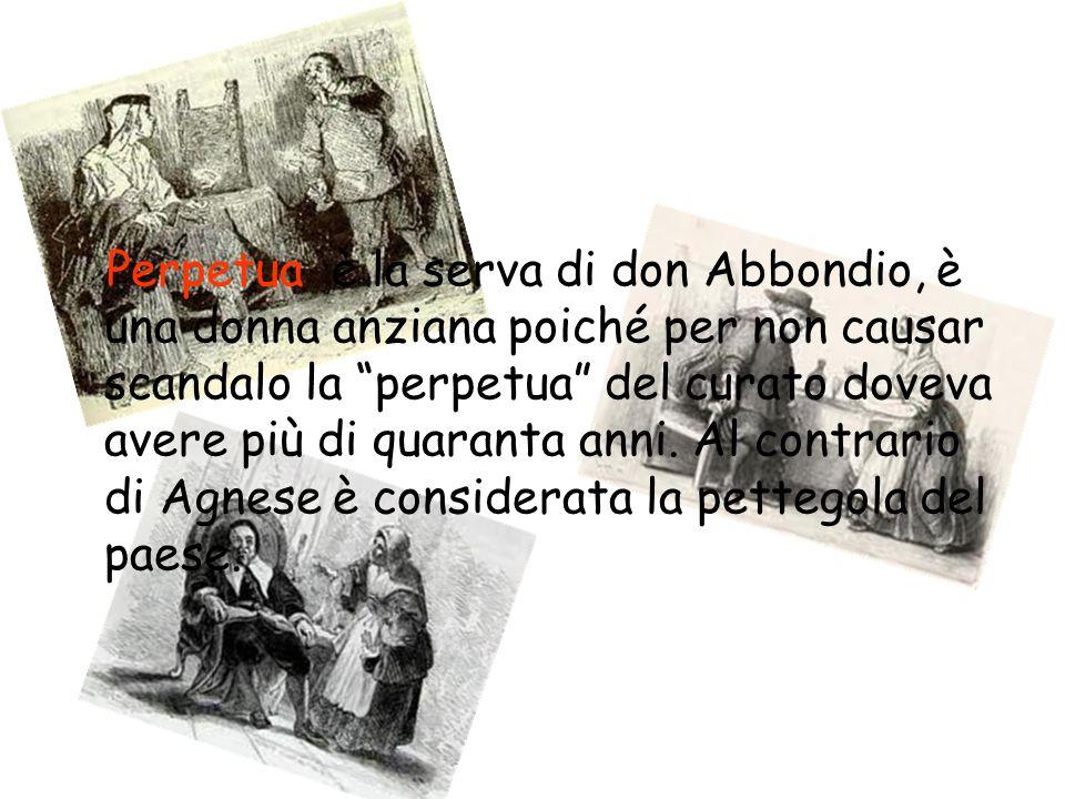 Perpetua è la serva di don Abbondio, è una donna anziana poiché per non causar scandalo la perpetua del curato doveva avere più di quaranta anni.
