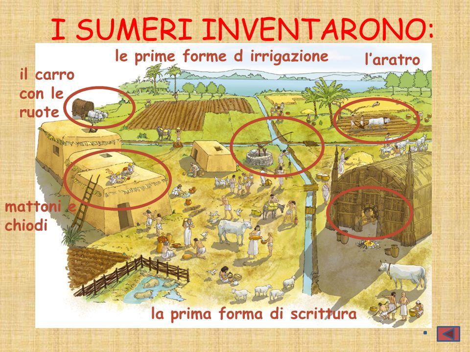 I SUMERI INVENTARONO: le prime forme d irrigazione l'aratro il carro