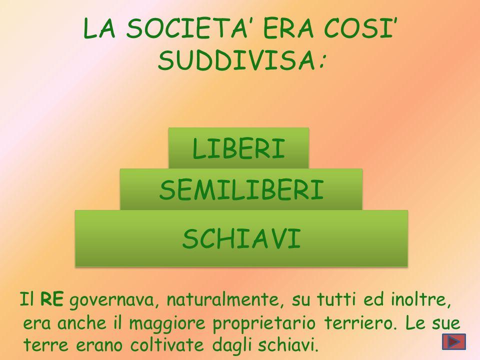 LA SOCIETA' ERA COSI' SUDDIVISA: