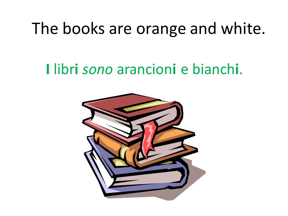 The books are orange and white.