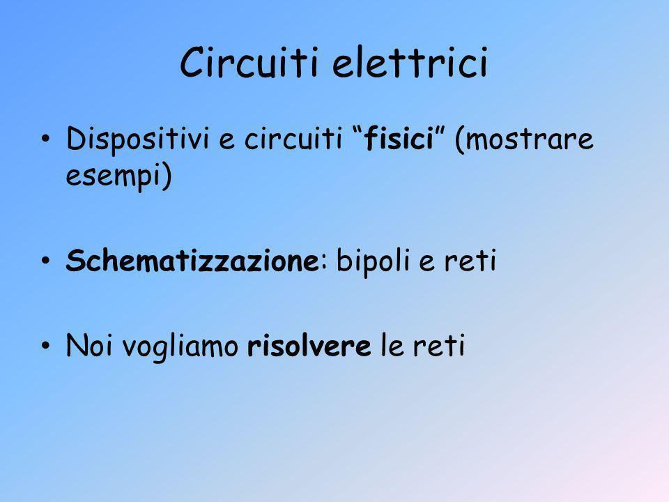 Circuiti elettrici Dispositivi e circuiti fisici (mostrare esempi)