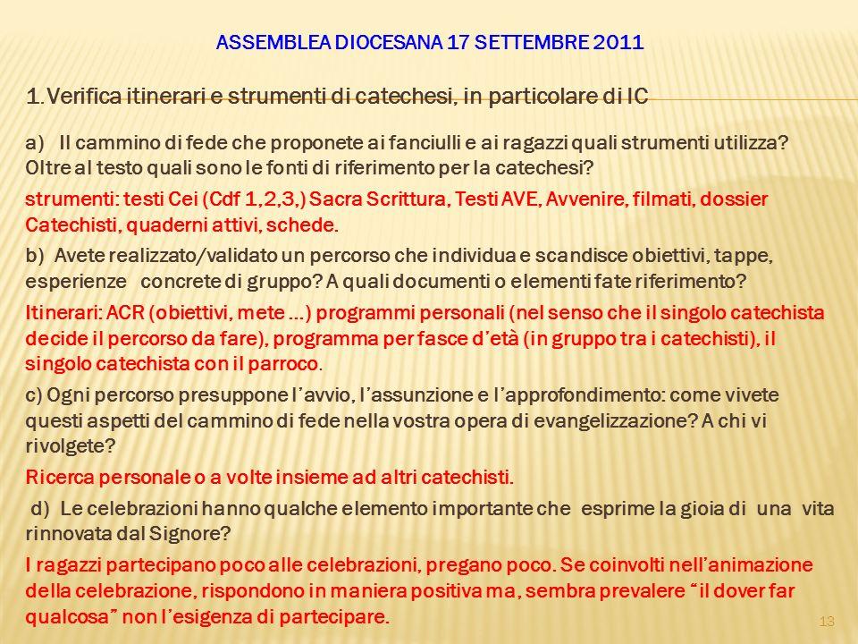 ASSEMBLEA DIOCESANA 17 SETTEMBRE 2011