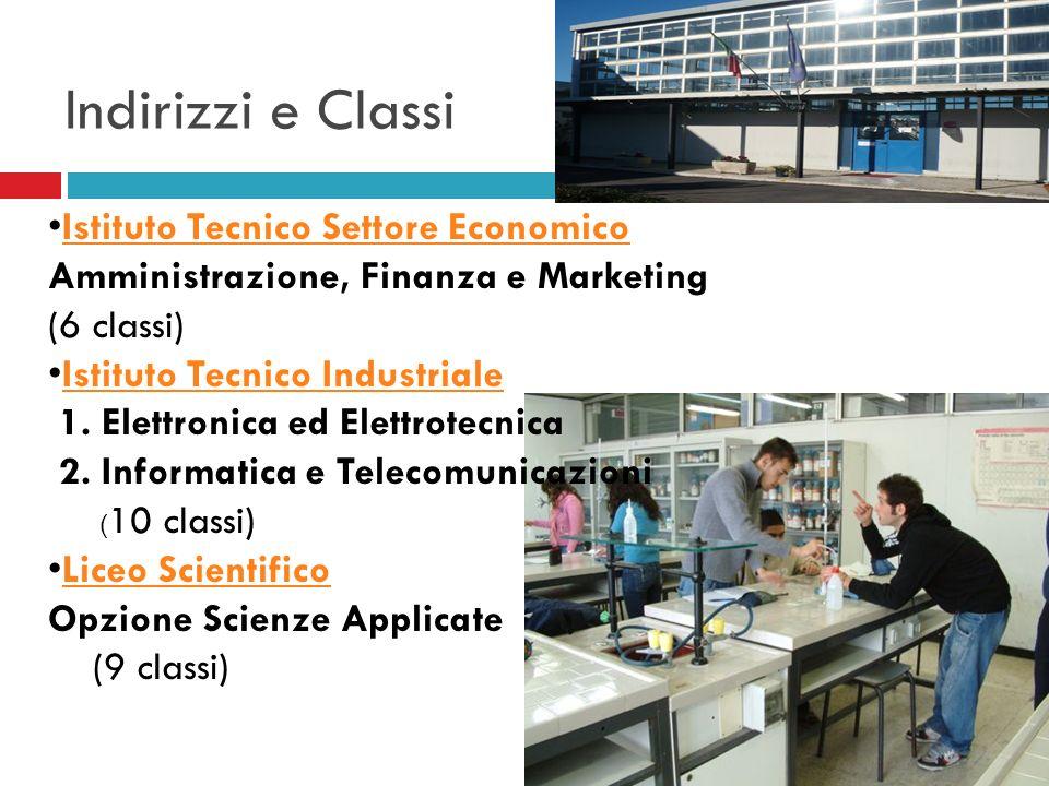 Indirizzi e Classi Istituto Tecnico Settore Economico Amministrazione, Finanza e Marketing. (6 classi)