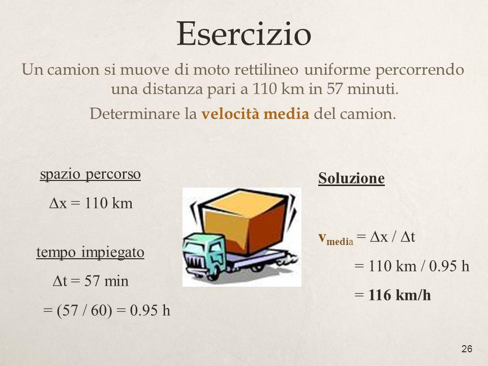 Determinare la velocità media del camion.