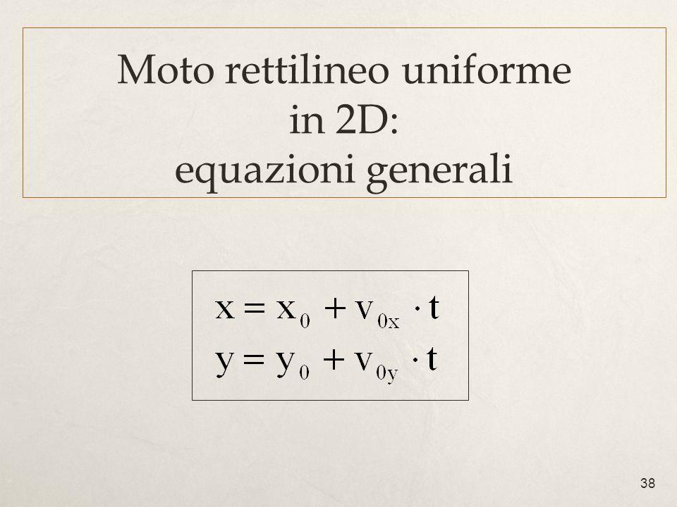 Moto rettilineo uniforme in 2D: equazioni generali