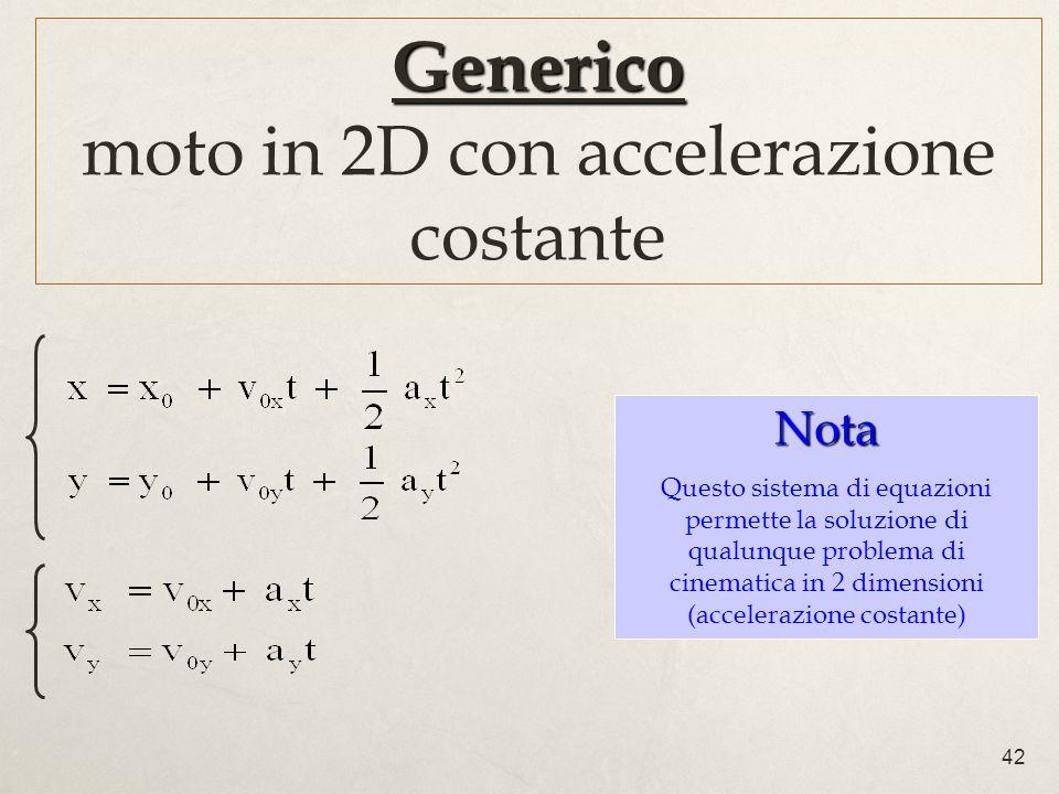 Generico moto in 2D con accelerazione costante