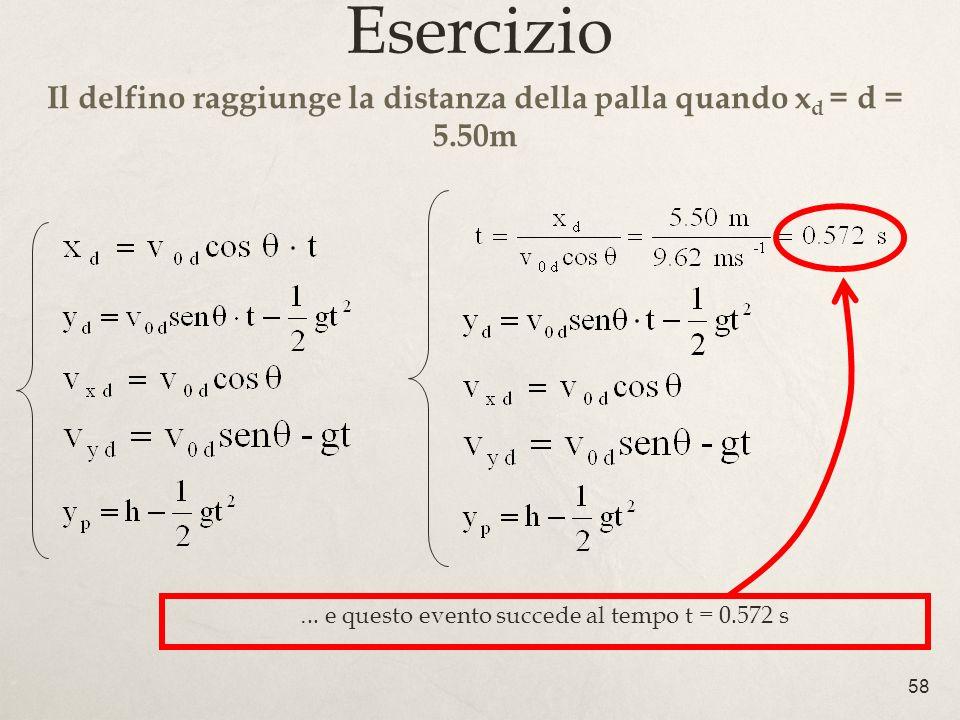 Il delfino raggiunge la distanza della palla quando xd = d = 5.50m