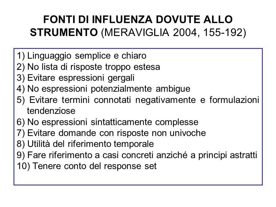 FONTI DI INFLUENZA DOVUTE ALLO STRUMENTO (MERAVIGLIA 2004, 155-192)