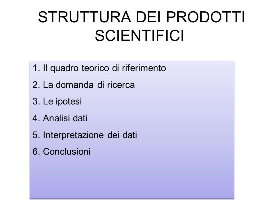 STRUTTURA DEI PRODOTTI SCIENTIFICI