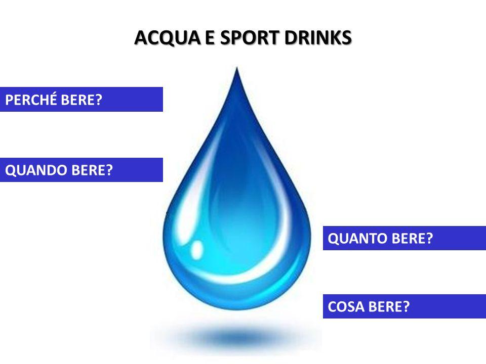 ACQUA E SPORT DRINKS PERCHÉ BERE QUANDO BERE QUANTO BERE COSA BERE